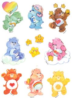 Old School Care Bears. Aaaaw I used to love them! Cambri loves the care bears!