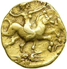 Warrior horse goddess. Pre-Roman Celtic coin of the Redones of NW Gaul. (Brittany) 1stC BCE