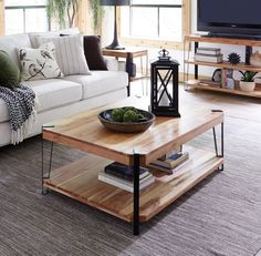 Ryegate Natural Live Edge Solid Wood with Metal Cube Coffee Table, Brown Cube Coffee Table, Coffee Table Furniture, Large Coffee Tables, Coffee Table With Storage, Decorating Coffee Tables, Living Room Furniture, Simple Coffee Table, Office Furniture, Estilo Industrial Chic