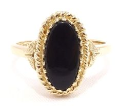 10k Solid Gold Onyx Ring Rope Design Detail Great Gift 2.6 Grams Free Shipping