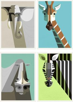Check out these African Mammal limited-edition prints by Josh Brill. How fresh and retro-modern.