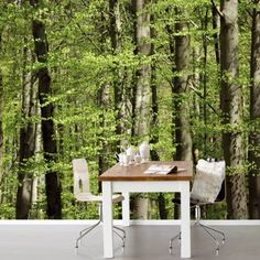 Eijffinger fotobehang Rhythm 330046 Tall Trees S Scenic Wallpaper, Outdoor Furniture Sets, Outdoor Decor, Interior Inspiration, Wall Murals, Cool Pictures, Interior Decorating, Outdoor Structures, Colours