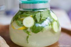 Sassy water to boost weight loss- 2L water, 1 medium cucumber, 1 lemon, 10-12 mint leaves. Steep overnight in fridge and drink every day!  Sounds yummy - refreshing