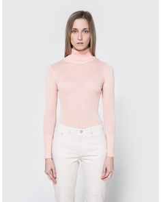 Which We Want   Pink Sheer Turtleneck In Blush   Lyst