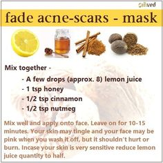A simple yet amazingly effective face mask - Fade away acne scars - with honey, nutmeg, cinnamon and lemon