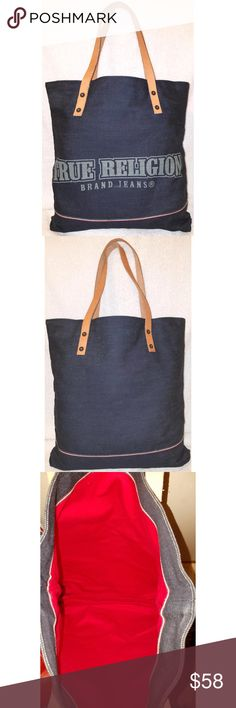 Extra-large navy denim tote handbag leather trim True Religion extra-large navy denim tote handbag with tan leather trim, 17.5x17x2 with an 8.5 strap drop. True Religion Bags Totes