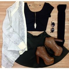 our #ootd of the day! Our cardi's are on sale right now. crop top, booties, cardigan, high knee socks, skater skirt