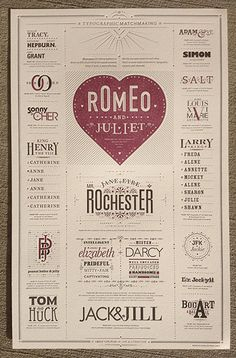 This beautiful letterpress poster design by Jim Godfrey, celebrates harmonious font combinations as well as famous couples from history and literature.