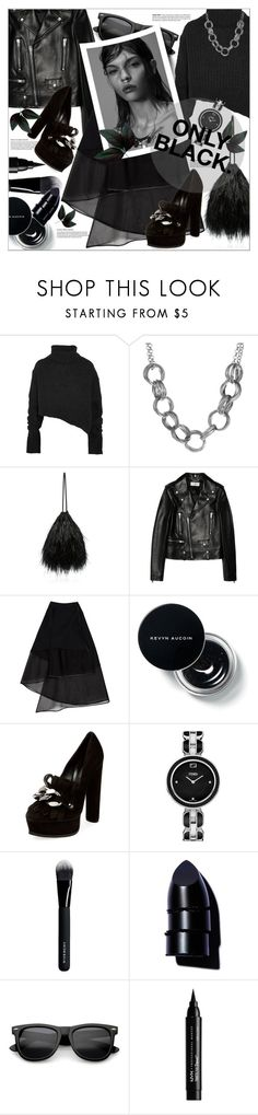 """Untitled #198"" by shewalksinsilence ❤ liked on Polyvore featuring Ann Demeulemeester, Attico, Yves Saint Laurent, David Koma, Casadei, Fendi, Givenchy, Anastasia Beverly Hills, NYX and black"