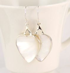 Sterling Silver, Natural Mother of Pearl Earrings, Heart Shape
