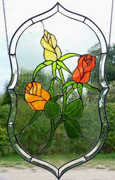 Stained Glass Leaded Glass Window Screen Rose Medallion in Tiffany Technology | eBay