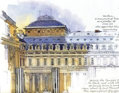 Sketches in watercolour and pencil by Fabrice Moireau Fabrice Moireau is a seasoned traveler who brings back from his journeys sketchbooks which are valuable cultural and ethnographic records in th… Art Et Architecture, Watercolor Architecture, Watercolor Sketchbook, Art Sketchbook, Watercolour, Fabrice Moireau, Model Sketch, Building Illustration, Perspective Drawing