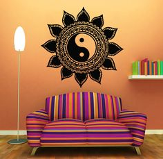 Wall Decals Mandala Sun Flower Indian Yin Yang Vinyl Sticker Decal Decor KG721 #Fashion
