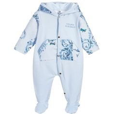 Young Versace - Blue Baroque Hooded Babygrow    Childrensalon