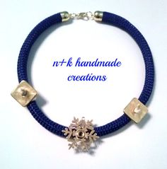 Handmade necklace made of  blue climbing rope by thenkcreations