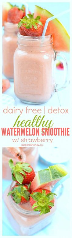 This 4-ingredients watermelon smoothie with strawberries and almond milk is the best dairy free smoothie to refresh and re hydrate your body this summer. Perfect Valentine's drink or pink drink mocktail.