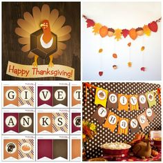 Download our free Thanksgiving printables for great banners that will brighten up any wall.See more ideas and share yours at CatchMyParty.com
