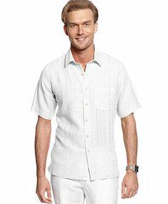 Tasso Elba Shirt, Linen-Blend Shirt - Casual Button-Down Shirts - Men -  Macy's