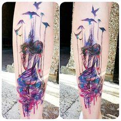 Watercolor Puppet Tattoo by Joanne Baker