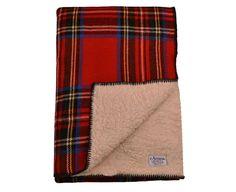 Fleece-Backed - Fleece-Backed Royal Stewart Tartan Wool Blanket
