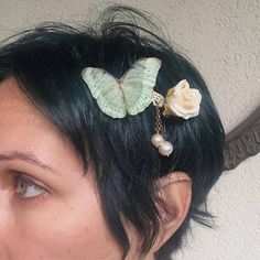 Handmade Hair Barrette with Rose Flower Cotton and Silk