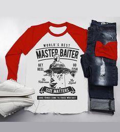 255a0772 Men's Funny Fishing T-Shirt World's Best Master Baiter Vintage Shirt  Fisherman Tee 3/
