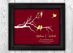 Graduation Gift - Custom College, High School, or University Personalized Gift for Graduate - Inspirational Quote Birds on Branch on Etsy, $10.00