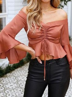 Orange Satin Look Off Shoulder Flare Sleeve Chic Women Crop Top Lace Crop Tops, Pink Outfits, Mode Inspiration, Long Sleeve Crop Top, Clothes For Women, Women's Clothes, Casual Dresses, Fashion Dresses, Love Fashion