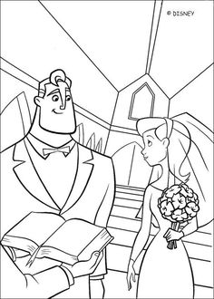 Cute coloring page of the wedding of Mr and Mrs Incredibles. A nice drawing about the Disney movie the Incredible.