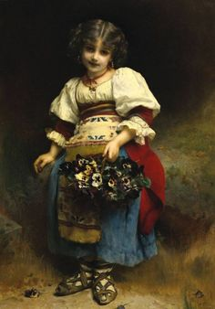 "Étienne-Adolphe Piot, ""A Basket of Flowers"" Painting For Kids, Art For Kids, Children Painting, Art Children, European Paintings, Old Master, Flower Basket, Vintage Children, Art Museum"