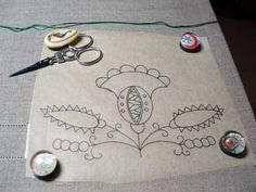 Transfering embroidery patterns.