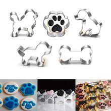 6 Styles Metal Pet Dog Bone Paw Cookie Cutter Mold Cross Shape