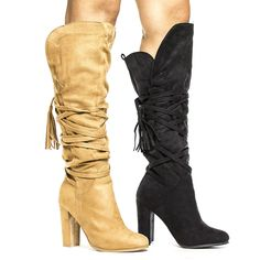 Western Pull On Knee High Tassel Lace Wrap Chunky Heel Boots * Check out this great product. Chunky Boots, Chunky Heels, Lace Wrap, Knee High Boots, Camel, Heel Boots, Tassels, Shoes, Amazon