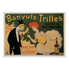 Art vintage d'annonce de boissons de vin de Banyul Affiches