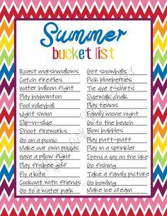 Free Summer Bucket List Printable