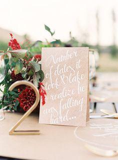 """How We Met"" love story-inspired table numbers"