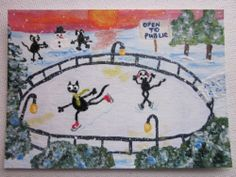 ACEO original painting, black cat, Christmas, ice skating, snowman, winter fun