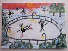 ACEO original painting, black cat, Christmas, ice skating, snowman, winter fun