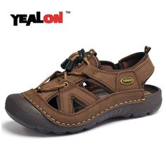 26.59$  Watch now - http://alikbp.shopchina.info/go.php?t=32749580755 - YEALON Outdoor Hiking Sandals Shoes Genuine Leather Waterproof Summer Shoes Mens Walking Trekking Shoes Beach Brown Size10 26.59$ #buyonline