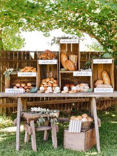 20 Farmer's Market Wedding Details: Specialty Food Stations | SouthBound Bride | http://www.southboundbride.com/farmers-market-wedding-details | Image credit: Ten22 Studio via Bridal Guide