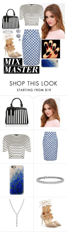 """""""Untitled #117"""" by fatyhnrqz94 ❤ liked on Polyvore featuring Jezzelle, LULUS, Alexander Wang, Jonathan Saunders, Casetify, Blue Nile, Tiffany & Co., Giuseppe Zanotti, BERRICLE and patternmixing"""
