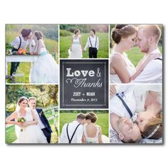 "Chalk Custom Photo Picture Collage Wedding ""Love & Thanks"" Thank You Card  #wedding #thanks #photo"