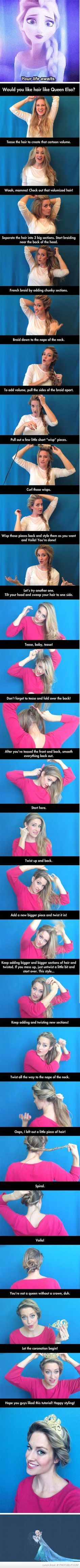How To Style Your Hair Like Elsa From Frozen.  Adorable!!  Obviously I am obsessed with this movie lol
