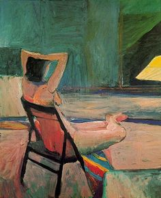"Richard Diebenkorn - ""Seated Nude, hands behind head"", 1961 - Oil on canvas - 84 x 69 in."
