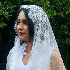 Evintage Veils~ Our Lady of Fatima Lace Mantilla Chapel Veil Mantilla Shawl Wrap Black OR Ivory Head Wrap Headband, Wide Headband, Chapel Veil, Lady Of Fatima, Beautiful Muslim Women, Lace Wrap, Tie Styles, Chantilly Lace, Scalloped Lace