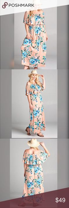 💎PLUS💎NEW💎Off the Shoulder Blush Maxi Dress Off the shoulder maxi dress with an elastic neckline and waistline. Made in a soft magnified floral print. Feel like a goddess in this dream of a dress that shows off your body in all the right places!!  95% Rayon 5% Spandex. Dresses Maxi