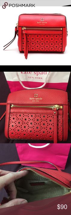 """Kate Spade Crossbody Purse Type:Cross Body Bags Measurements:7""""L x 3.5""""H x 6""""W Color:Chilli Red Brand:Kate Spade Retail $349 Style/Collection:NWT Perri Lane Bubbles Loo Loo Used only a couple of times. Great Condition. kate spade Bags Crossbody Bags"""