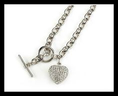 Diamante Necklace With Diamante studded heart Chain size With T-bar fastening. Baby Memories, Beauty Make Up, Bracelet Set, Timeless Design, Red Roses, Fashion Jewelry, Personalized Items, Chain, Womens Fashion