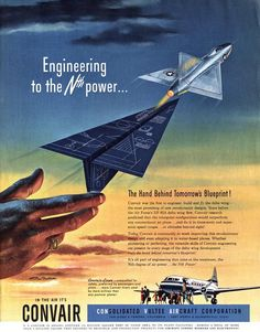 Collier's magazine Illustrated by Ren Wicks February 1952 Retro Advertising, Vintage Advertisements, Vintage Ads, Vintage Airline, Delta Wing, Military Jets, Military Aircraft, Aviation Art, Civil Aviation