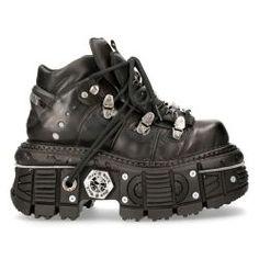 Newrock Exts002 S1 Black Platform Sandal Leather New Rock Skull Buckles